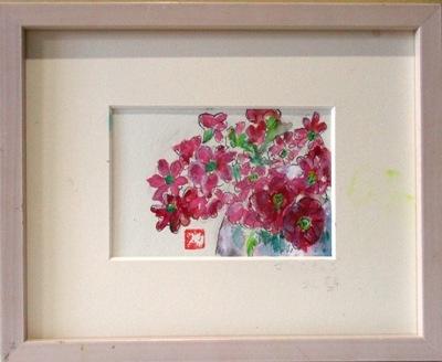 画像1:  花々  葉書サイズ  ペンに水彩