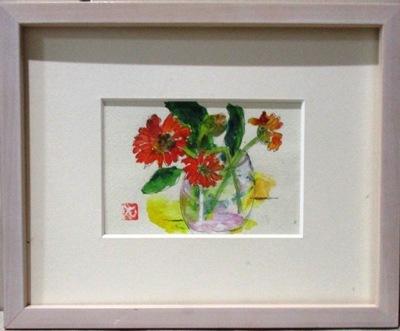 画像1: グラスの花    葉書サイズ    ペンに水彩