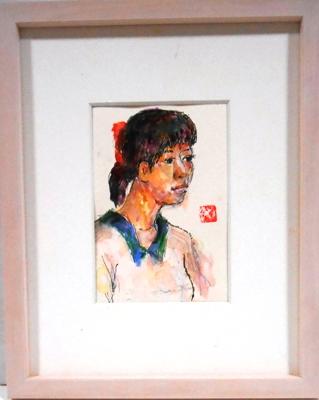 画像1: 少女  ペンに水彩   葉書サイズ