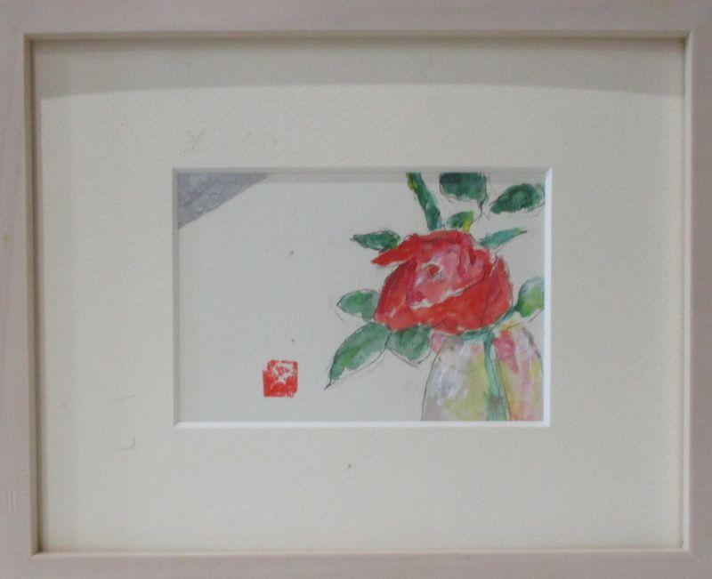 画像1: i一輪の赤いばら    ミニアチュール    ペンに水彩