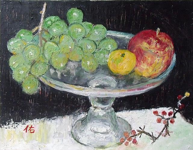画像1: コンポートの果物  F6号     油彩